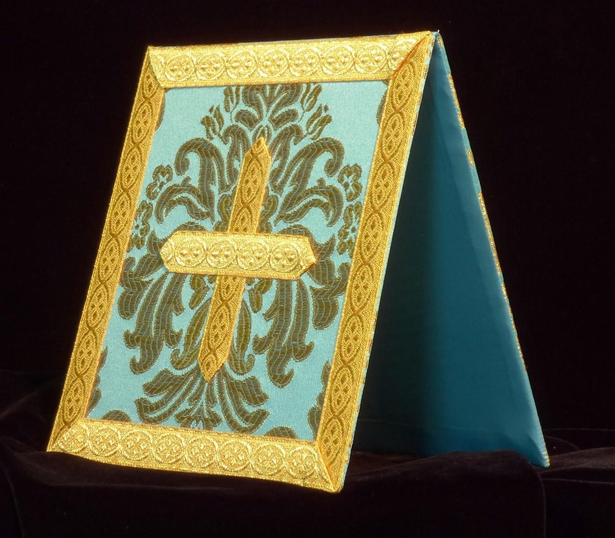 bolsa de corporales brocado azul