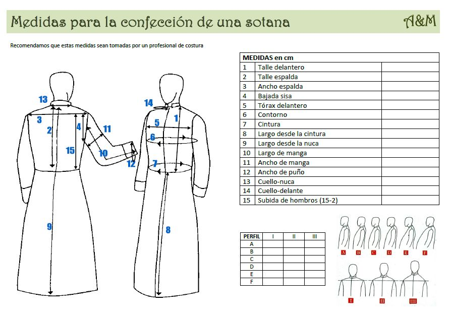 plantilla de medidas para sotana
