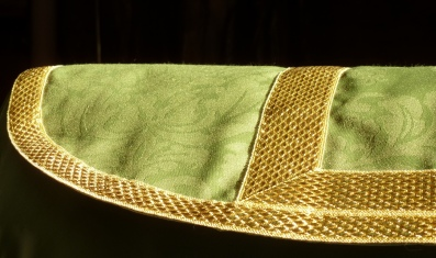 Tela verde de damasco