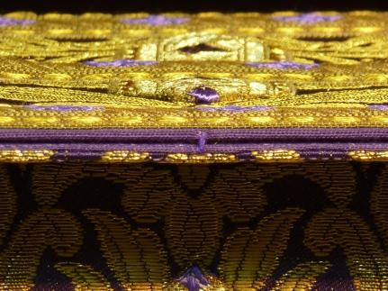 carpeta y velo de cáliz morada brocado