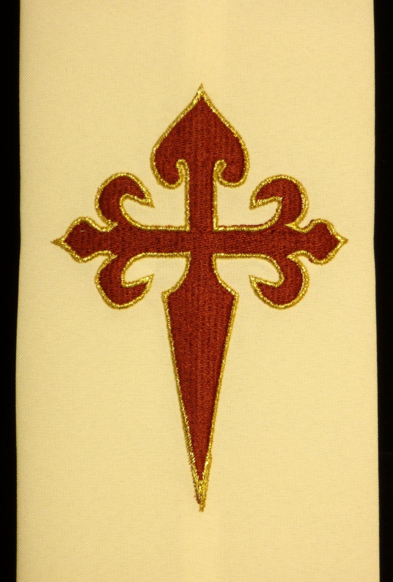 Cruz de Santiago bordada en rayón y oro sobre poliéster