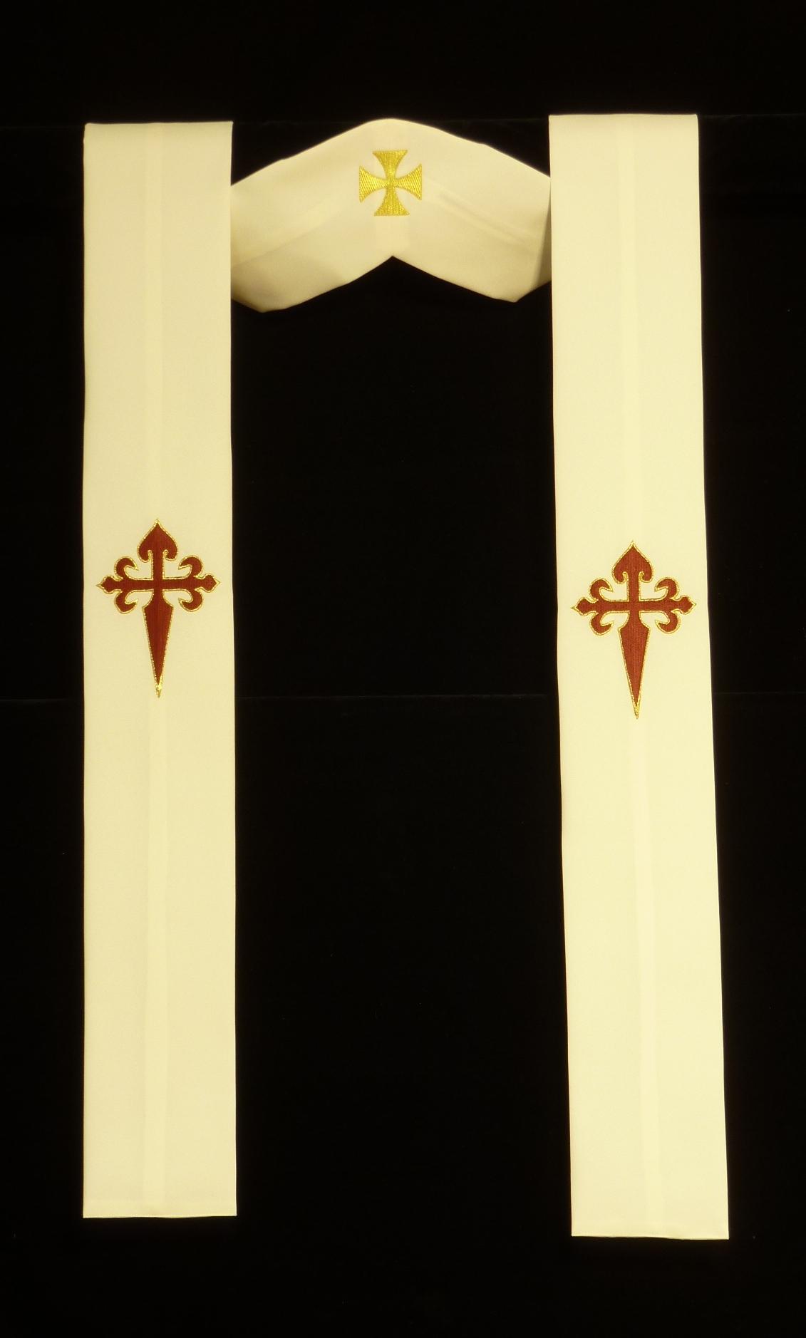 Estola bordada con cruces de Santiago