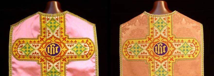 Casulla rosa antes y después