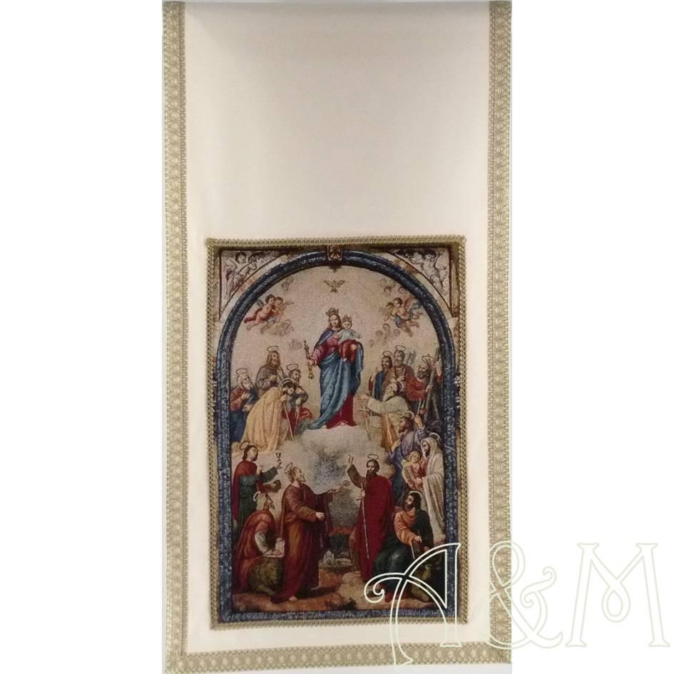 Paño de ambón con tapiz de Ntra. Sra. María Auxiliadora