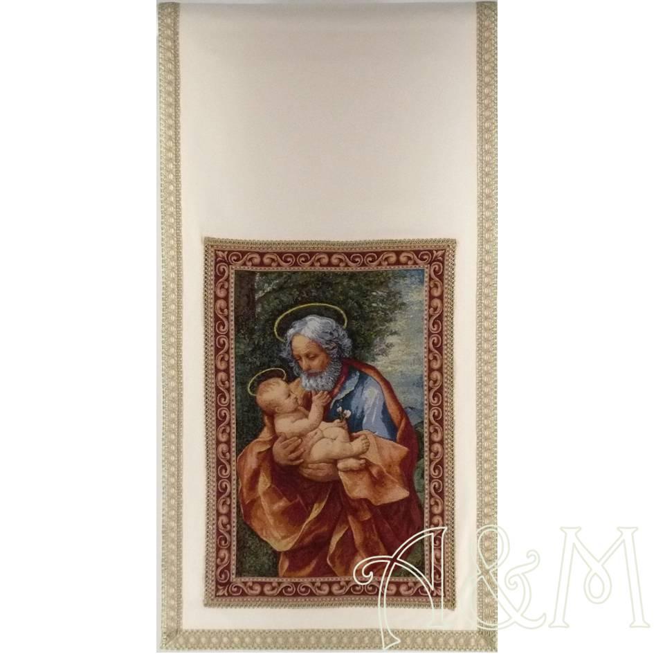 Paño de ambón con tapiz de San José con el Niño de Guido Reni